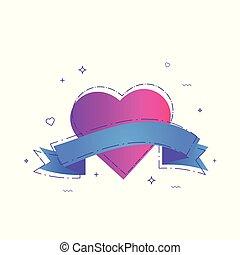 Heart with ribbon. Vector illustration.