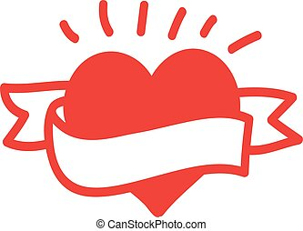Heart with ribbon. Vector