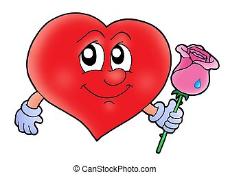Heart with rose - Red heart with rose - color illustration.