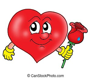 Heart with rose - color illustration.