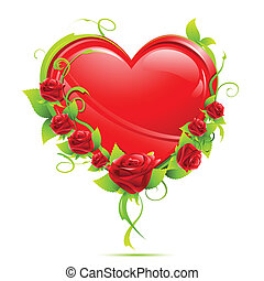 Heart with Roses - illustration of valentine card with heart...