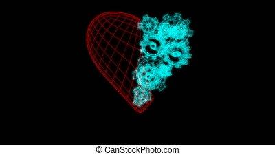 heart with rotating metal gears loop