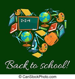 Heart with school supplies and education items