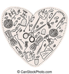 Heart with sewing and kniting items and tools