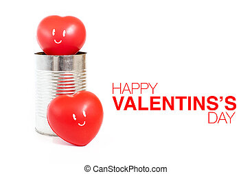 Heart with smile emotion in tin can and Happy Valentine's Day word on white background, Love concept