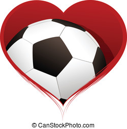 Heart with Soccer Ball Inside - Vector illustration of a...