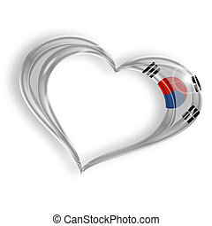 heart with south korean flag colors on white background