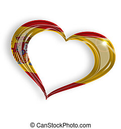 heart with spanish flag colors on white background