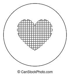 Heart with square icon black color in circle