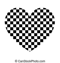 Heart with square the black color icon .