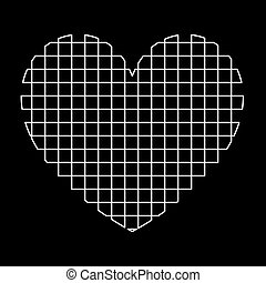 Heart with square white color path icon .