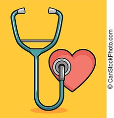 heart with stethoscope design