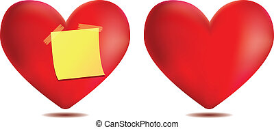 Heart with sticky note