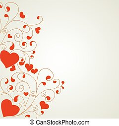 Heart with swirls and hearts ornament a light background