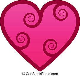 Heart with swirls