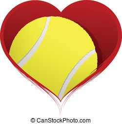 Heart with Tennis Ball Inside - Vector illustration of a...