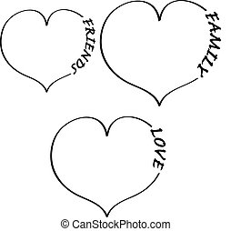 Heart with text on white background