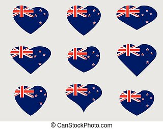 Heart with the flag of New Zealand. I love New Zealand. New Zealand flag icon set. Vector illustration.