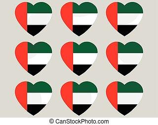 Heart with the flag of United Arab Emirates. I love the United Arab Emirates. United Arab Emirates flag icon set. Vector illustration.
