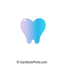 Heart with Tooth Root, flat cartoon style vector logo concept. Dentistry isolated icon on white background. Dentist symbol for dental clinic and orthodontist office startup