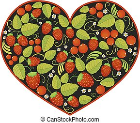 heart with traditional russian pattern Khokhloma.
