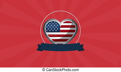 heart with united states of america flag