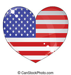 Heart with US flag texture isolated on a white background....