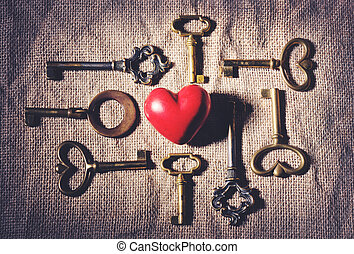 heart with vintage keys