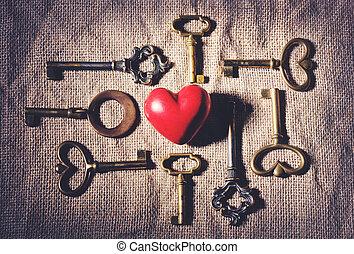 heart with vintage keys