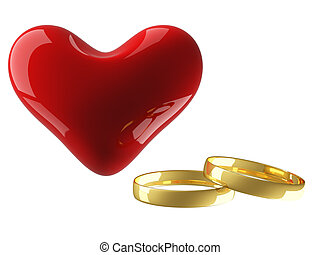 Heart with wedding rings on a white background. 3D image.