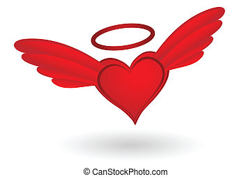 Heart with Wings and Halo - Holy Heart with wings and Nimbus...