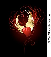 heart with wings foil