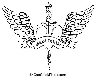 Heart with wings pierced with ancient dagger. Black and white tatoo dagger piercing flying heart with dripping blood.