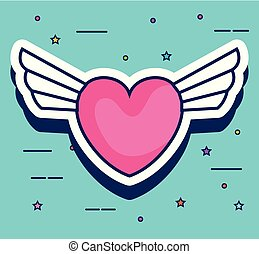 heart with wings pop art style