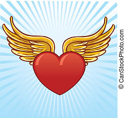 Heart with wings vector illustration