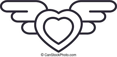 heart with wings vector line icon, sign, illustration on background, editable strokes