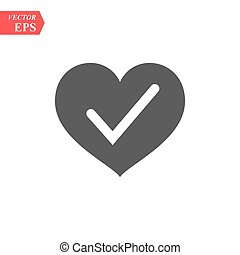 Heart with Yes check mark. Vector illustration. Gray heart with check mark on light background.