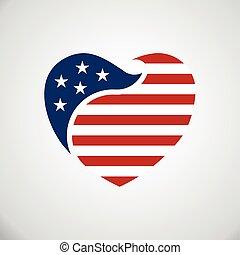 heart., wnętrze, bandera, amerykanka, wektor, logo