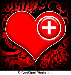 Heart work medical recovery - Medical cross implanted in red...