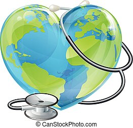 Heart World Health Day Earth Stethoscope Globe Concept