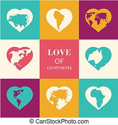 Heart world - love!  illustration.