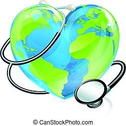 Heart World Stethoscope Earth Globe Health Concept