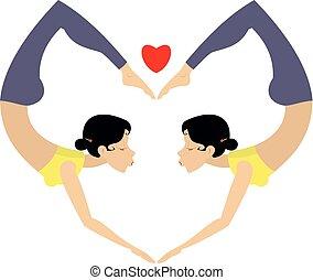 Heart yoga or gymnastics symbol