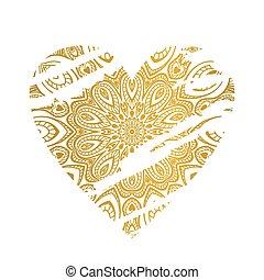 heart., złoty, ozdobny