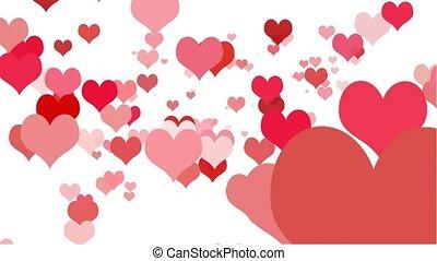 Heart Zoom Seamless Loop HD wide - Valentine hearts in...