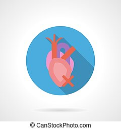 Heartache flat color round vector icon