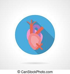 Heartache flat color round vector icon