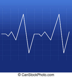 Heartbeat being designed by a white line against a blue...