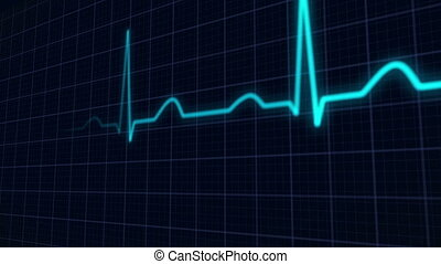 heartbeat curve animation - perspective view of a blue...