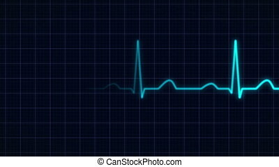 heartbeat curve animation - zooming in on a blue heartbeat...